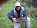 Norm Bolen with a nice Brown fly fishing in the Taupo area